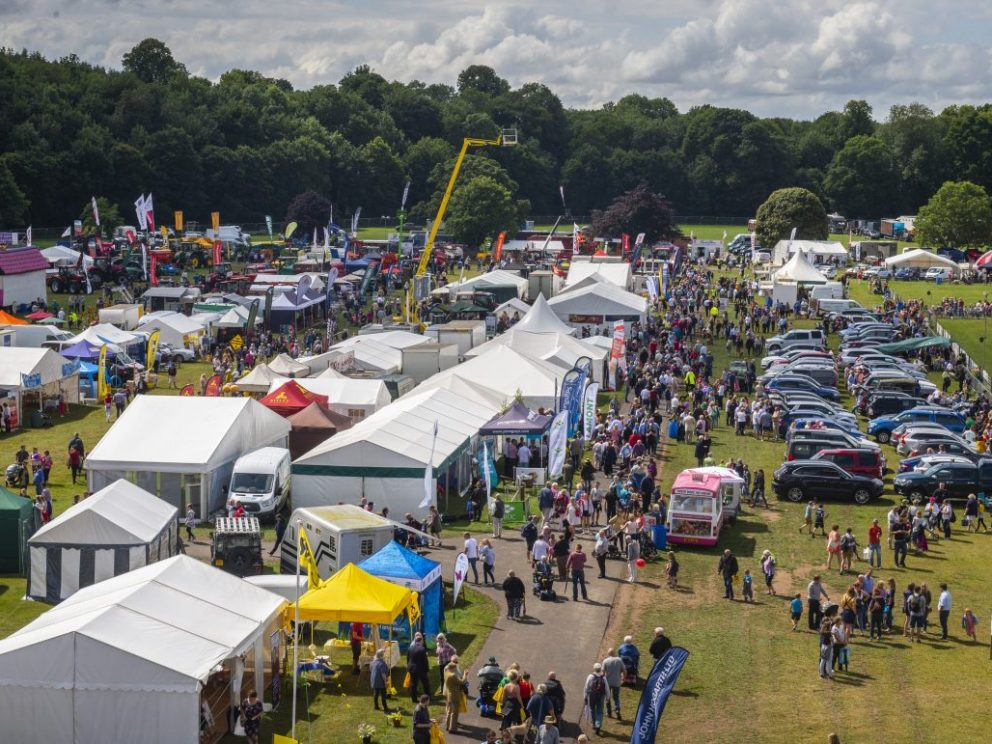 birds eye view of Kelso Show including lots of spectators and marquees