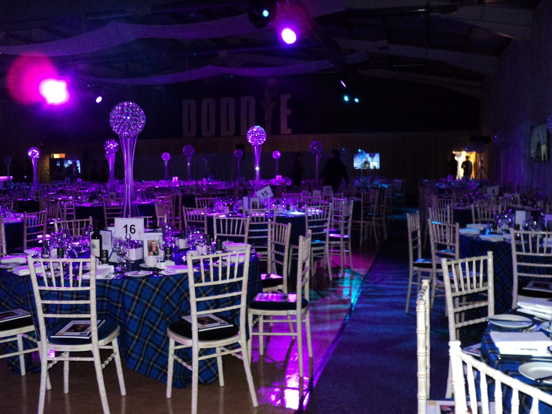 The BEC and its large function hall set up for a charity dinner and dance